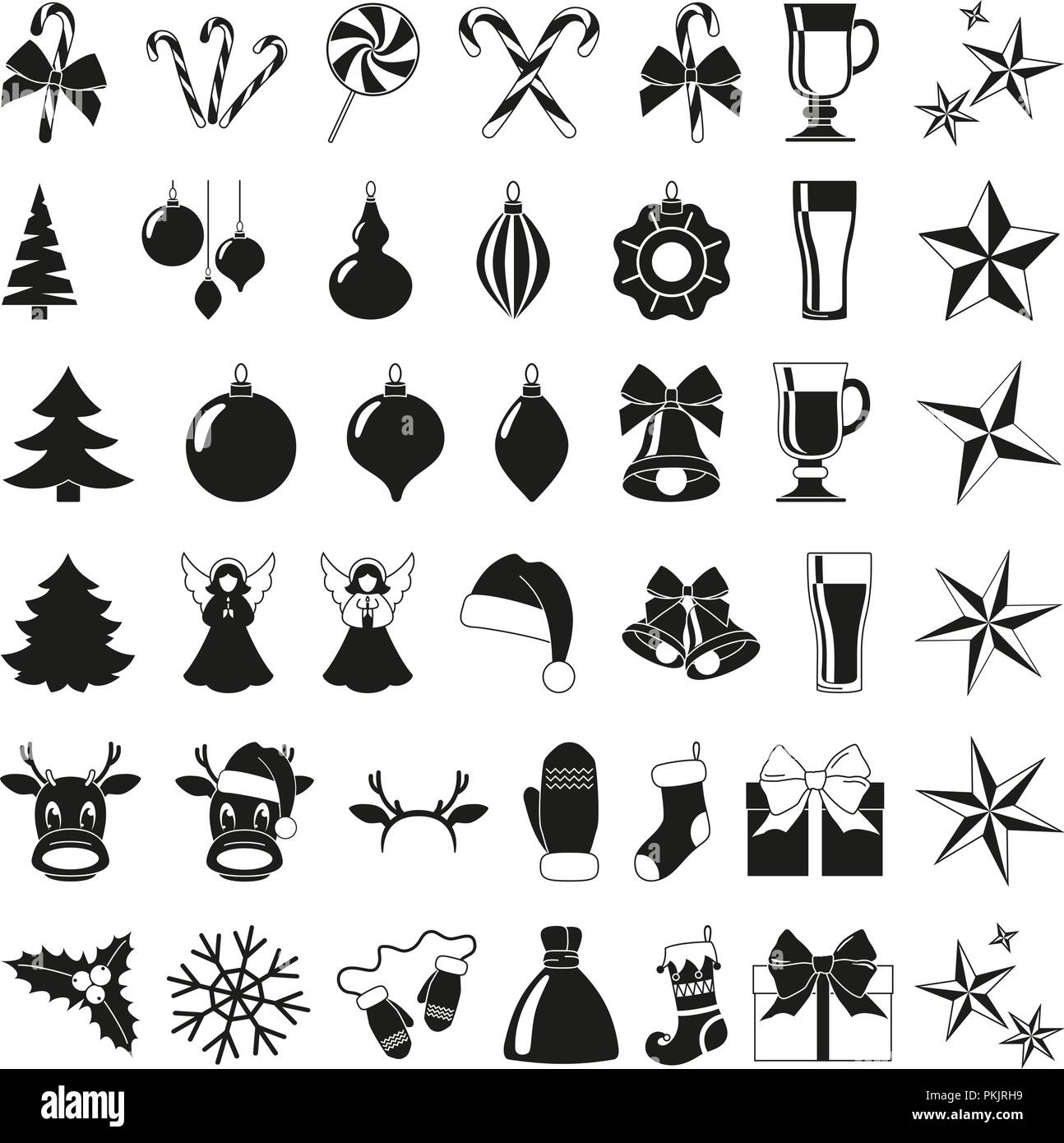 black and white 42 christmas elements new year holiday decorations xmas themed vector illustration for icon logo sticker patch label sign badg