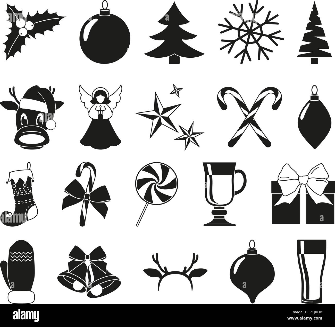 black and white 20 christmas elements new year holiday decorations xmas themed vector illustration for icon logo sticker patch label sign badg