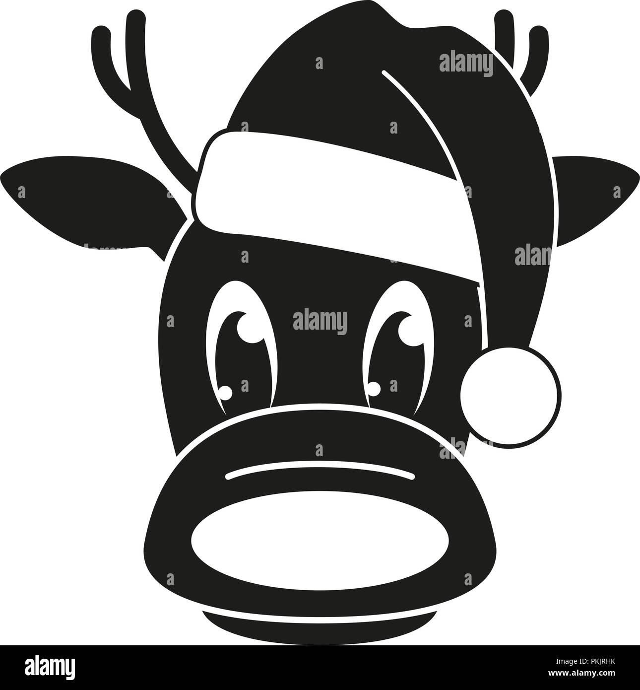 23de4d8a87403 Black and white reindeer head in hat silhouette. Funny mascot holiday  character. Christmas themed vector illustration for icon