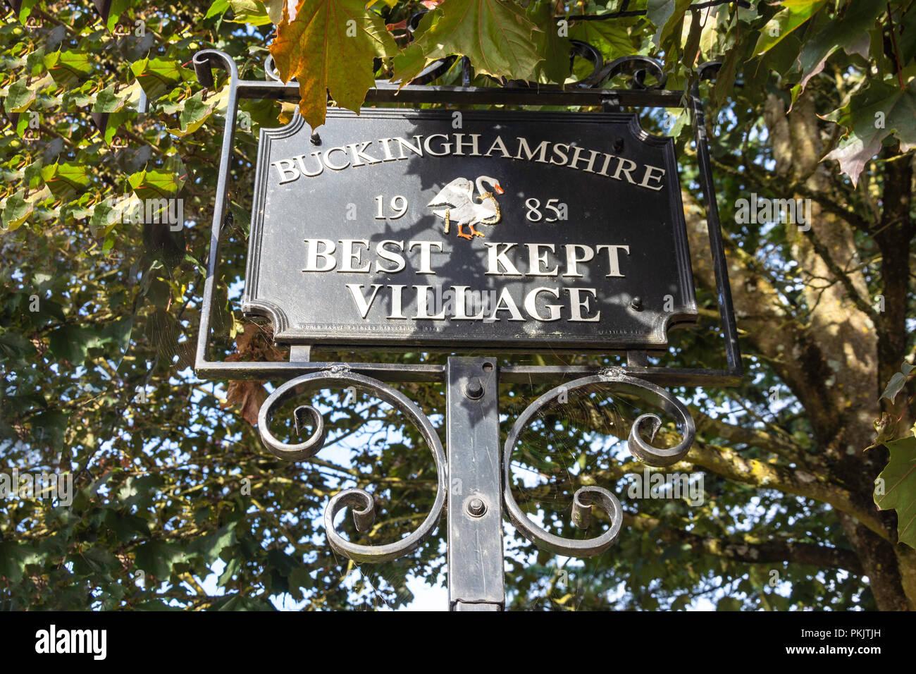 Buckinghamshire best kept village sign, Windmill Road, Fulmer, Buckinghamshire, England, United Kingdom - Stock Image