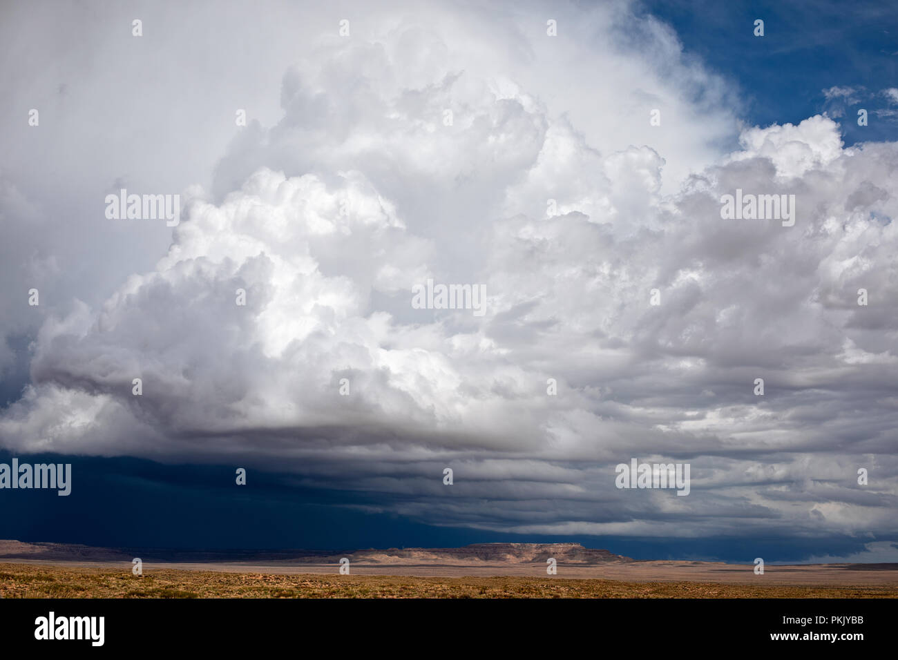 Cumulonimbus clouds with a blue sky background - Stock Image