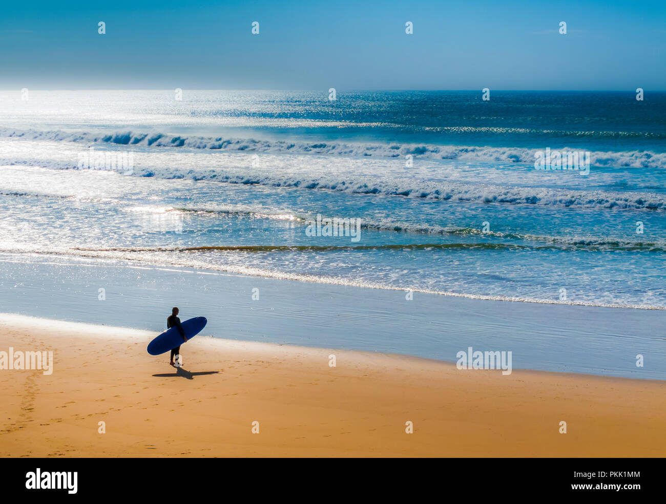 Silhouette of surfer standing on beach checking the surf conditions. Stock Photo