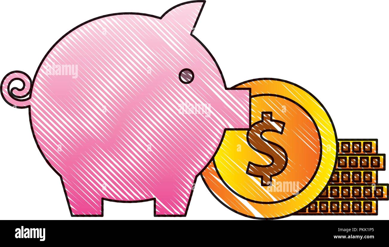 piggy bank stack coins money invest - Stock Image
