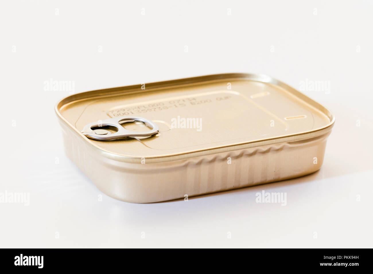 Unopened sardines can (sardines tin) - USA - Stock Image