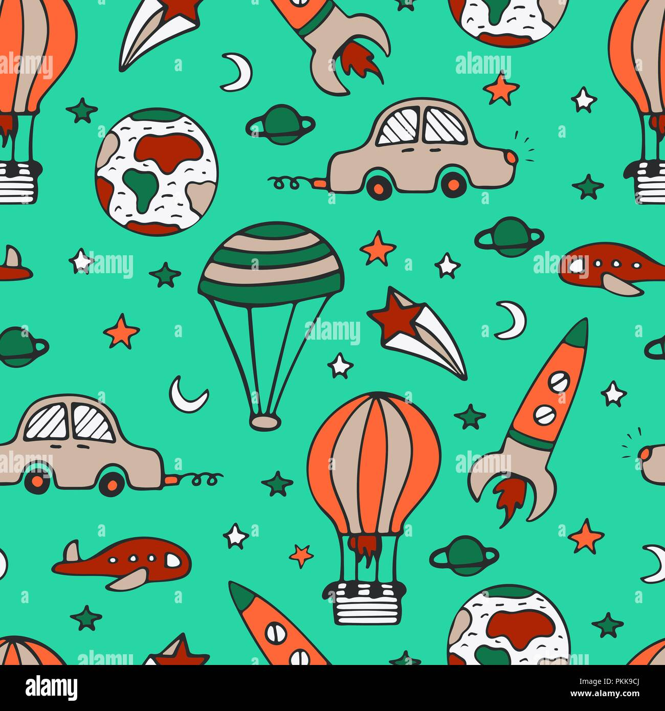 Bright seamless pattern for design with car, a rocket and balloons. Stock Vector