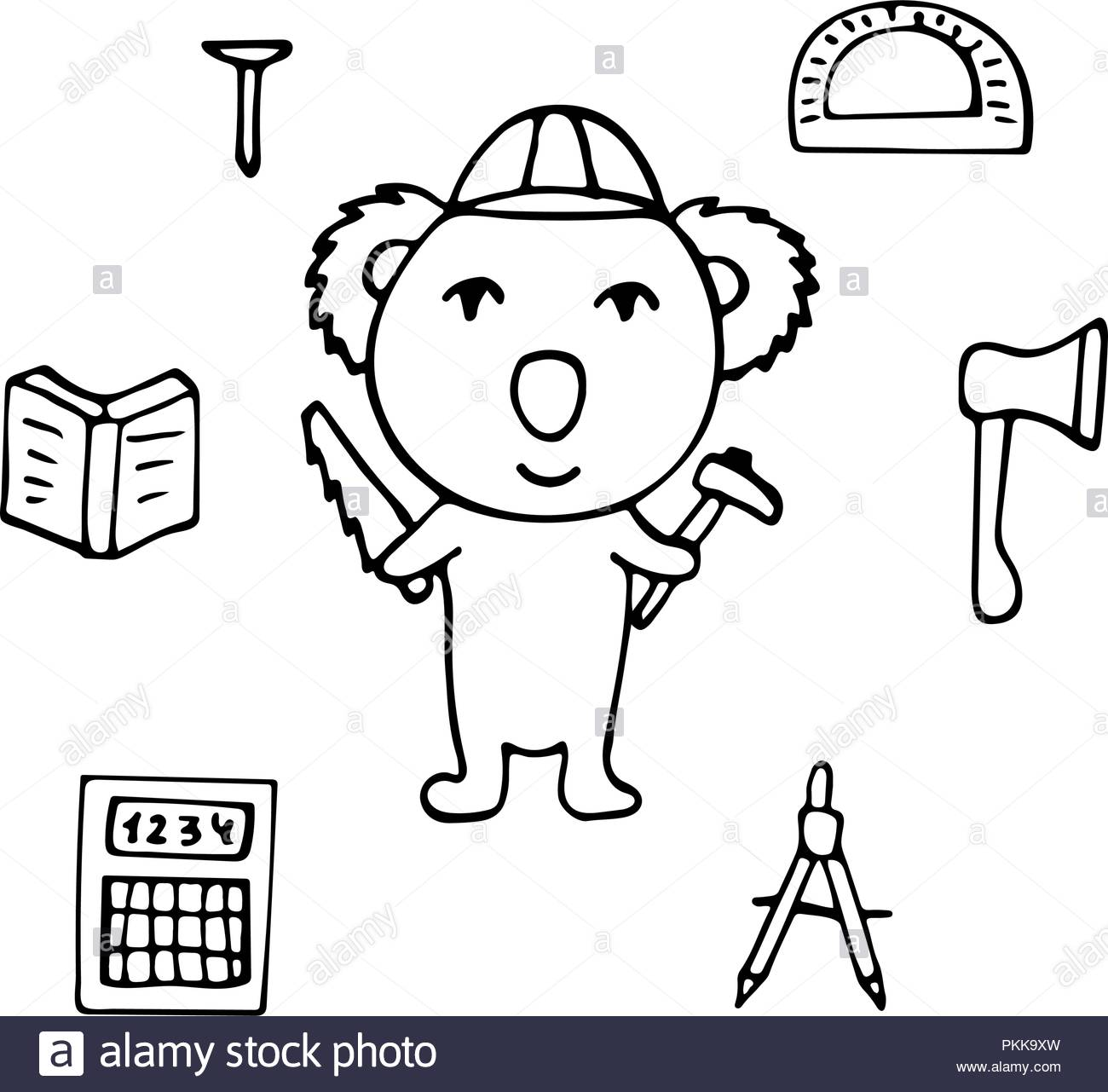 Koala the civil engineer with the axe and a saw stock image