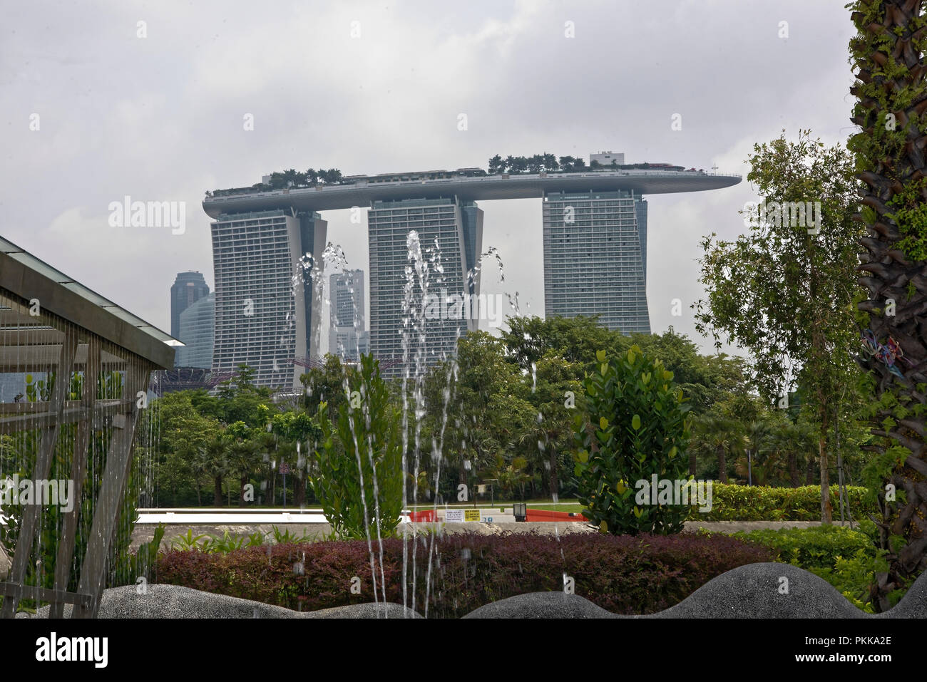 Singapore, Singapore- August 07, 2018: View of the fountain in Marina Barrage Stock Photo