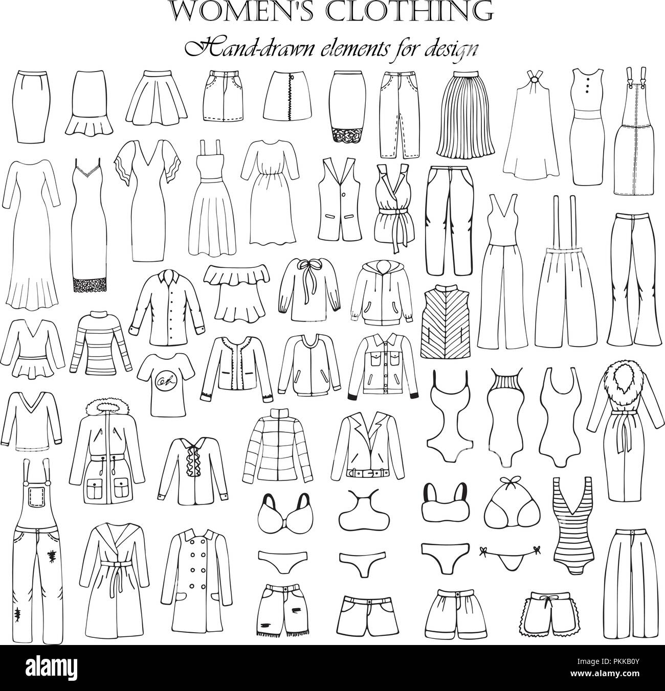 Set of 55 hand-drawn elements of a women's clothing for design. Black-and-white vector illustration. - Stock Vector