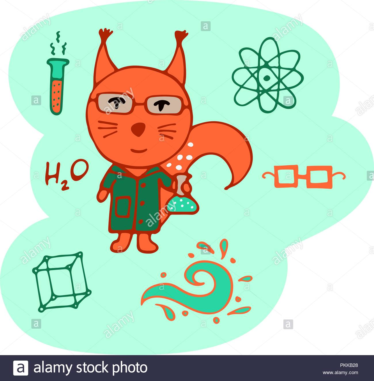Hand-drawn clever squirrel the chemist with a test tube and wearing spectacles. - Stock Vector