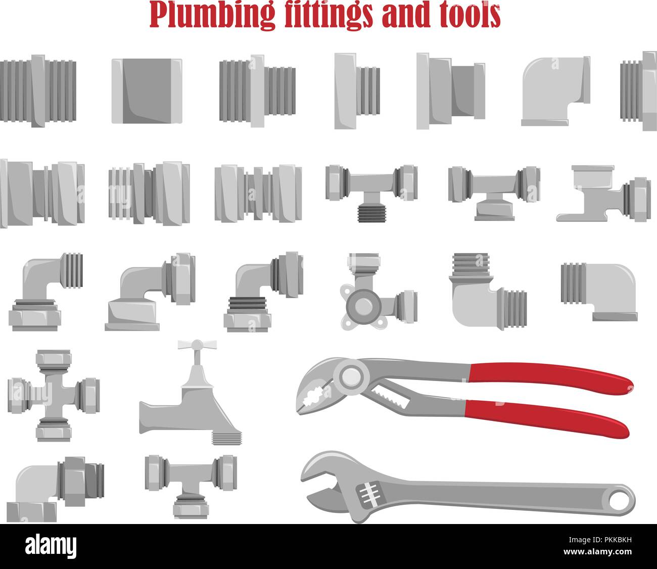 Color vector set of plumbing fittings and tools. - Stock Image