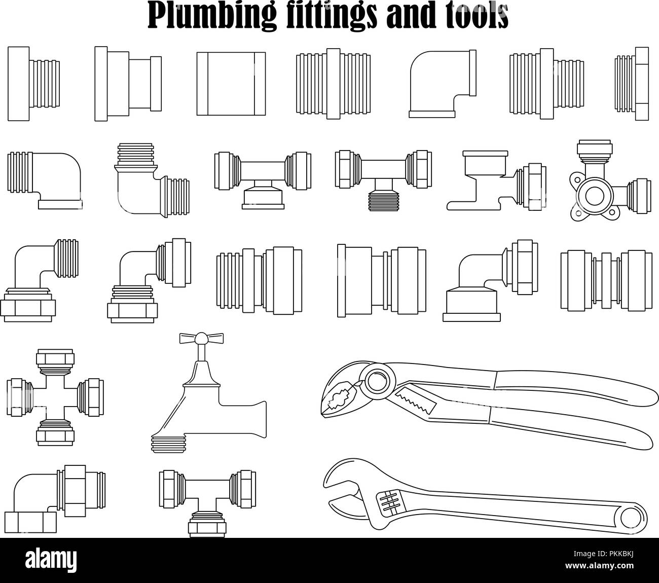 Monochrome vector set of plumbing fittings and tools. - Stock Image