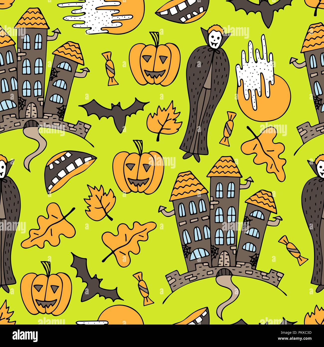 Hand-drawn Halloween colorful seamless pattern with doodles. - Stock Vector