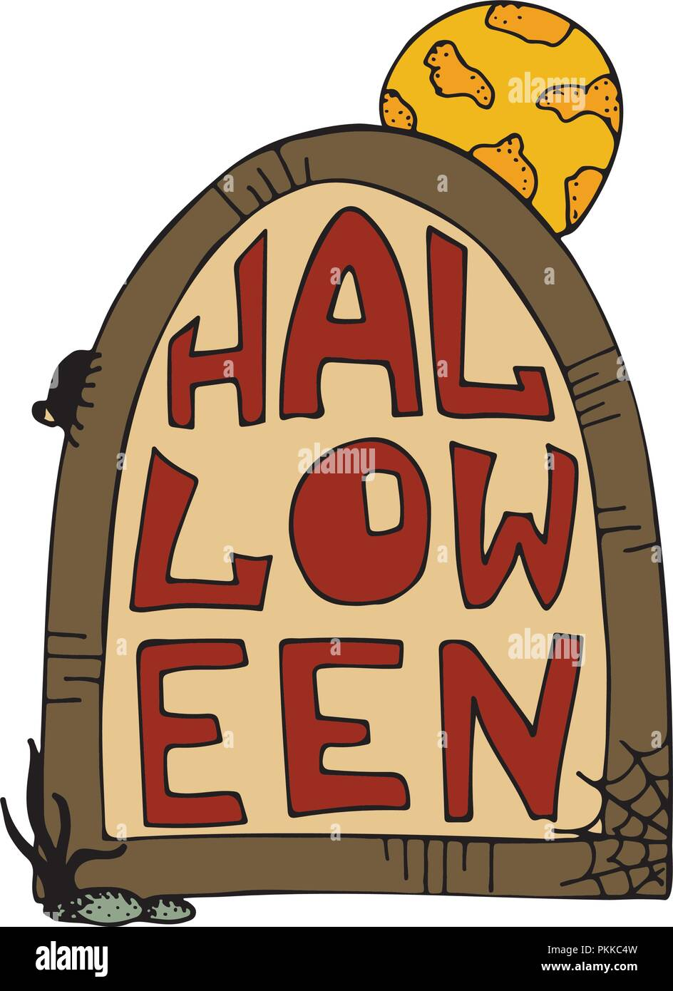 Hand-drawn vector illustration for halloween party. Gravestone with the full moon. - Stock Image