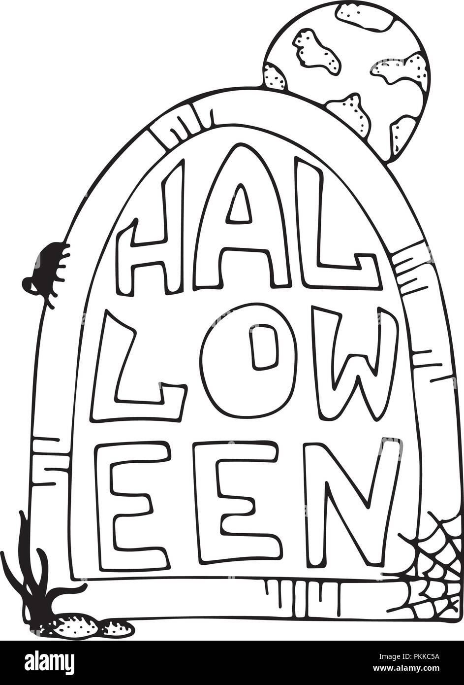 Hand-drawn monochrome illustration for halloween party. Gravestone with the full moon. - Stock Image
