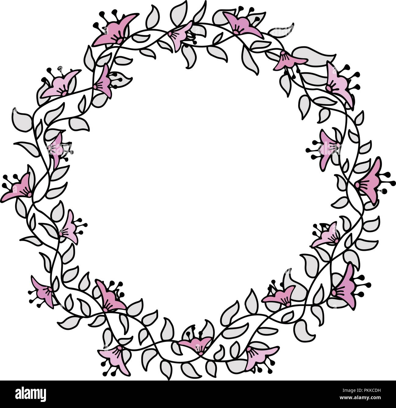 Flower hand-drawn gentle frame on a white background. Save the date. - Stock Vector