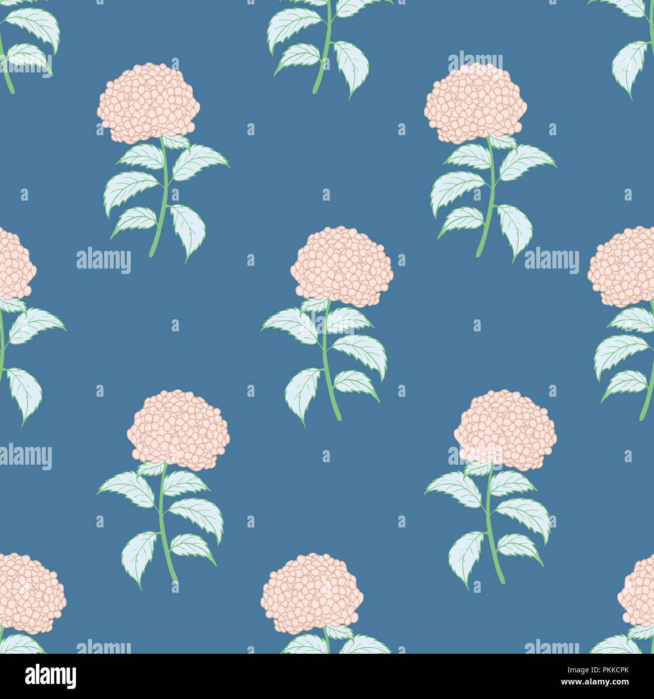 Bright flower seamless pattern with pink hydrangeas. - Stock Vector