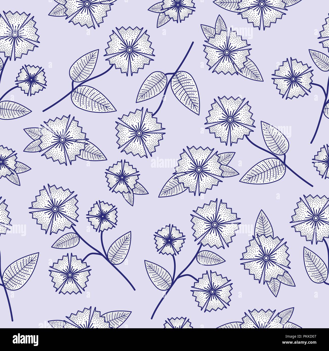 Gentle seamless pattern with abstract flowers. - Stock Vector