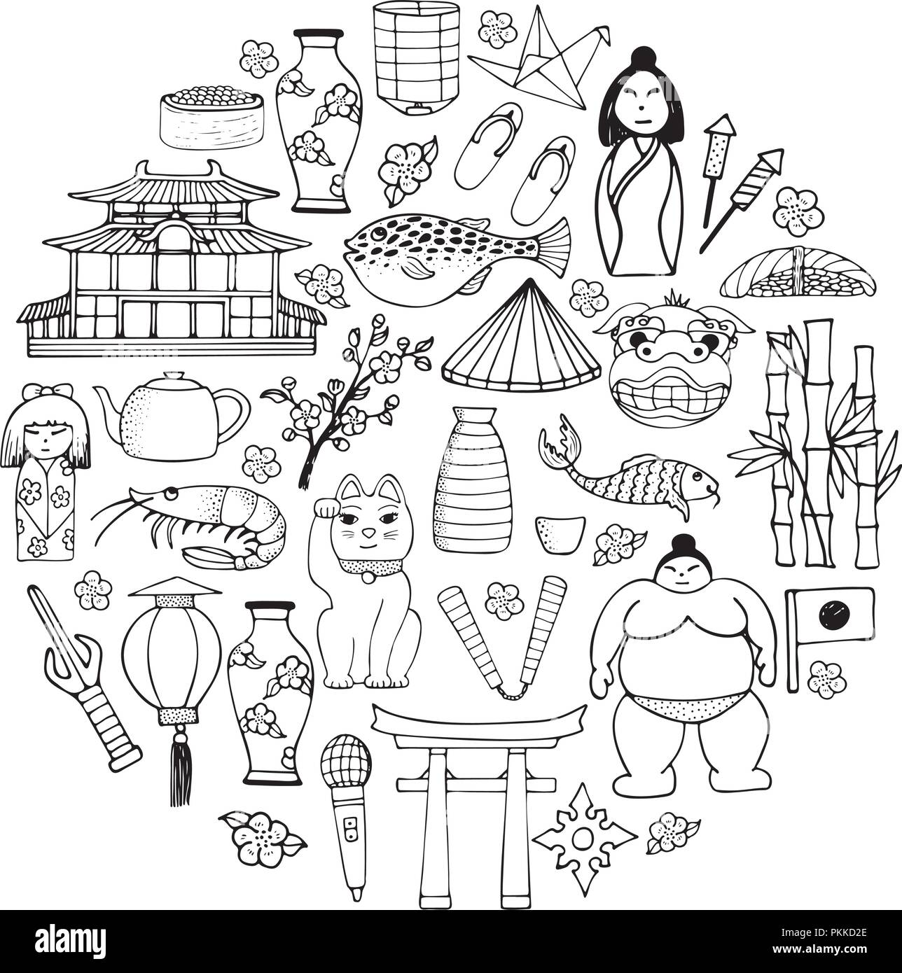 A Set Of Hand Drawn Il Rations About The Japanese Culture And Lifestyle Outline Elements