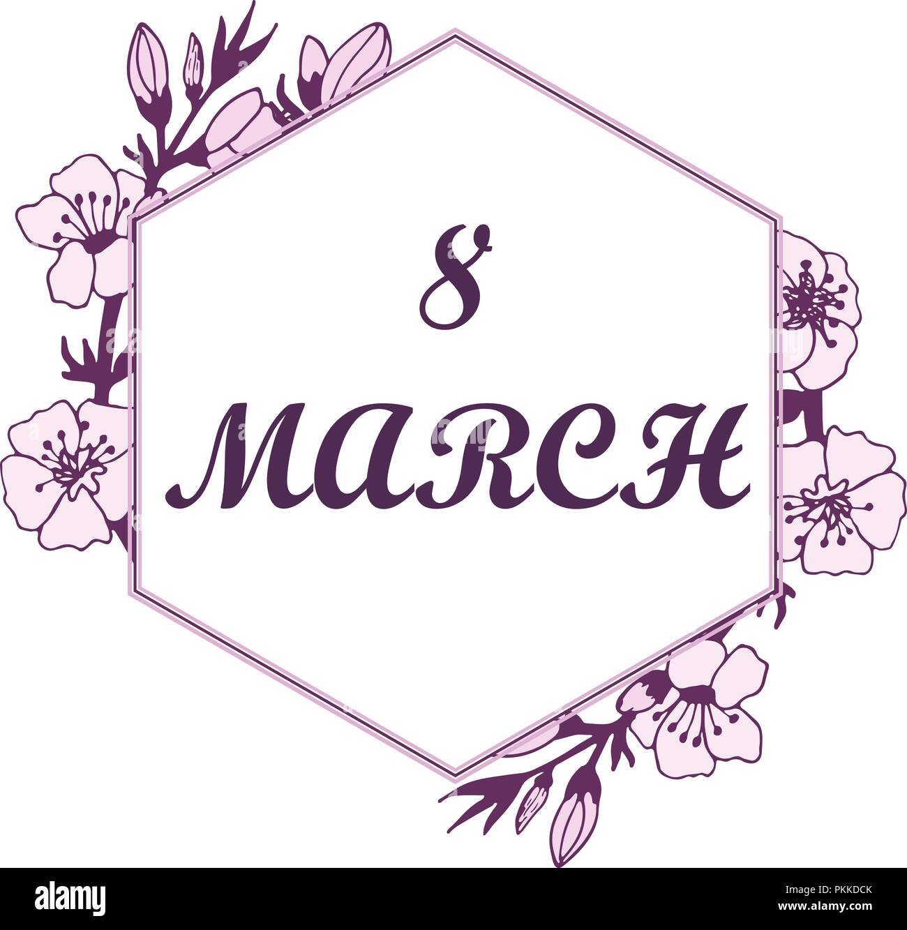 Lovely illustration with gentle colors for 8 March in a frame. - Stock Vector