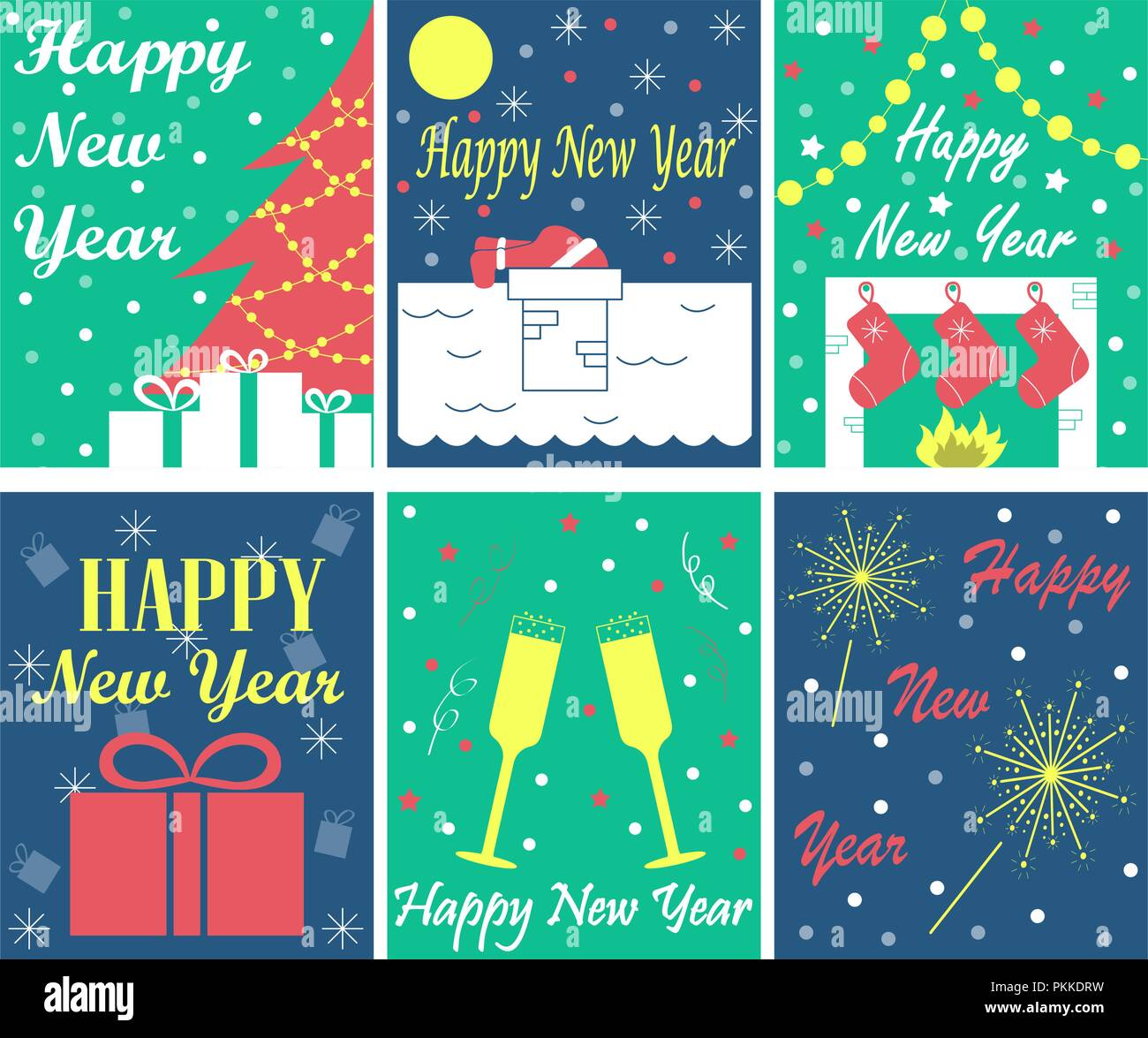 New Year Greeting Cards Stock Photos New Year Greeting Cards Stock