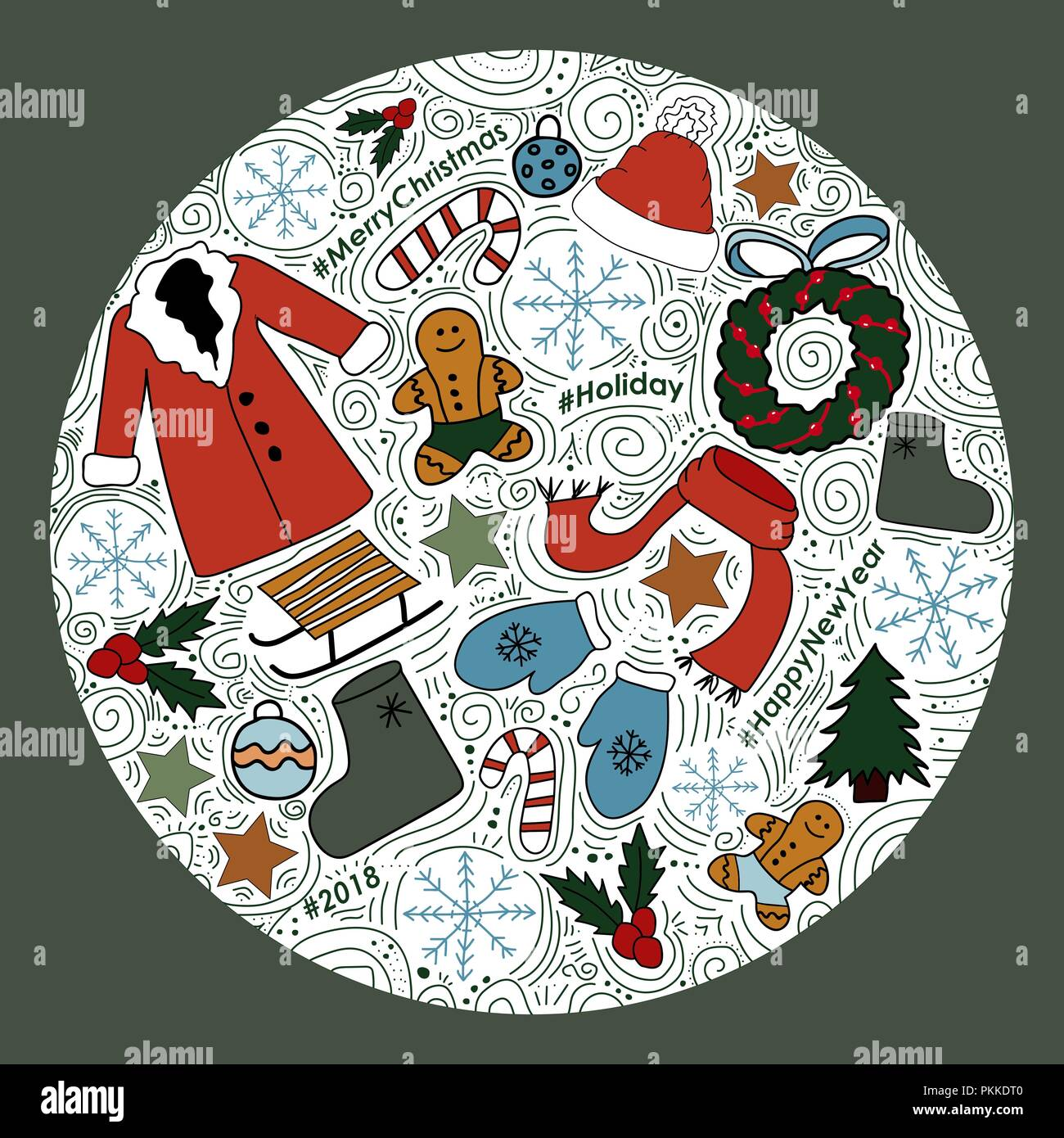 The circle with New Year images. Vector Illustration for winter holidays. Stock Vector