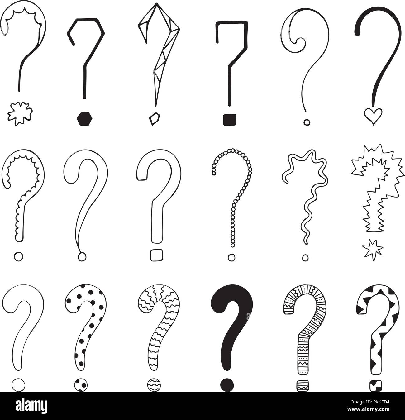 Set of 18 question marks for design. - Stock Image