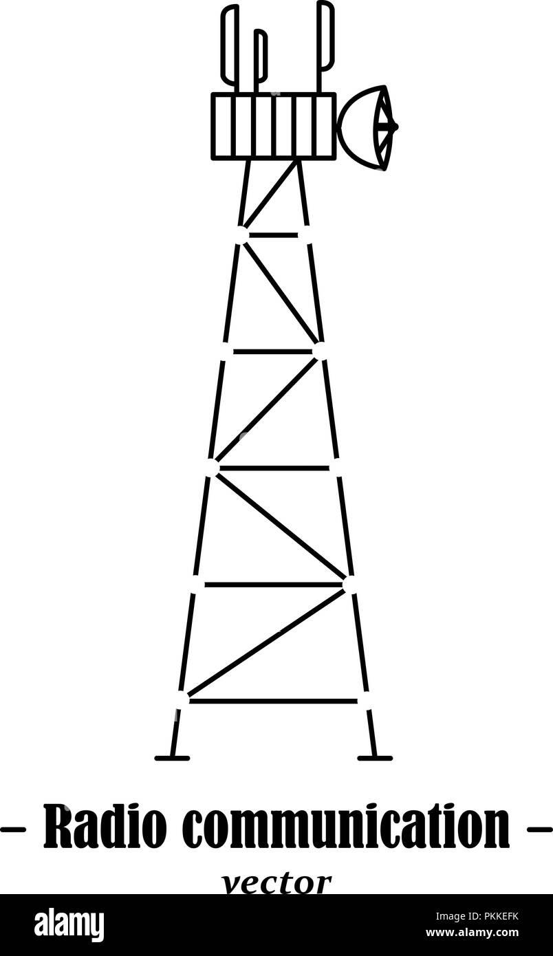 Vector logotype for radio communication. Black illustration on white background. - Stock Image
