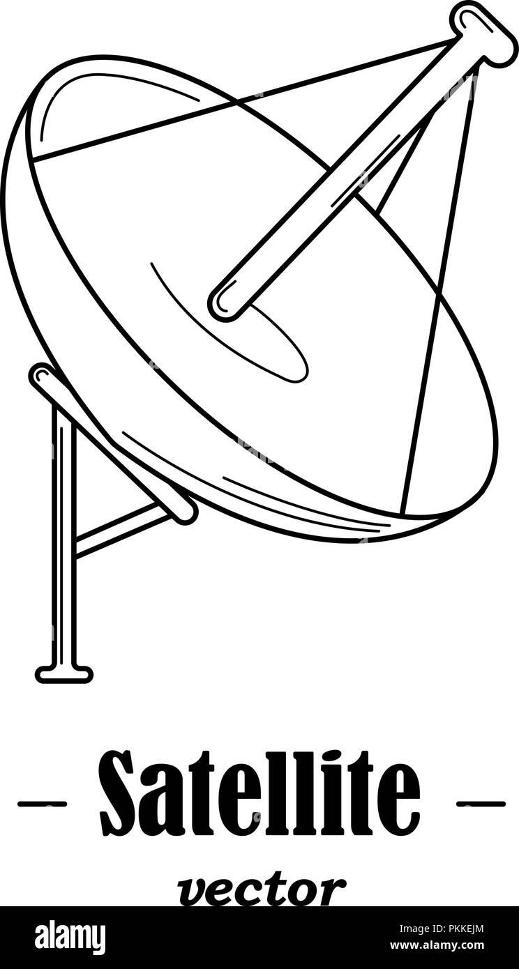 Vector logotype for satelite. Black illustration on white background. - Stock Image