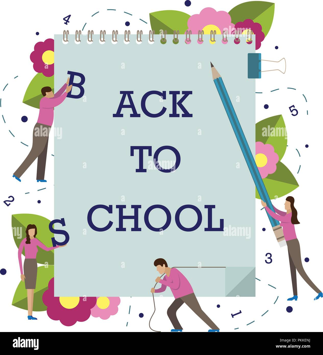 Vector illustration with little men for school. 1st September. Back to school. - Stock Vector