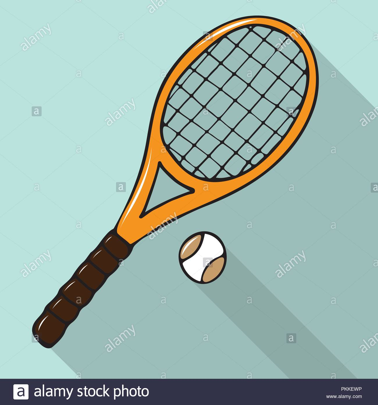 Vector Illustration With Hand Drawn Tennis Racket And Ball Sport
