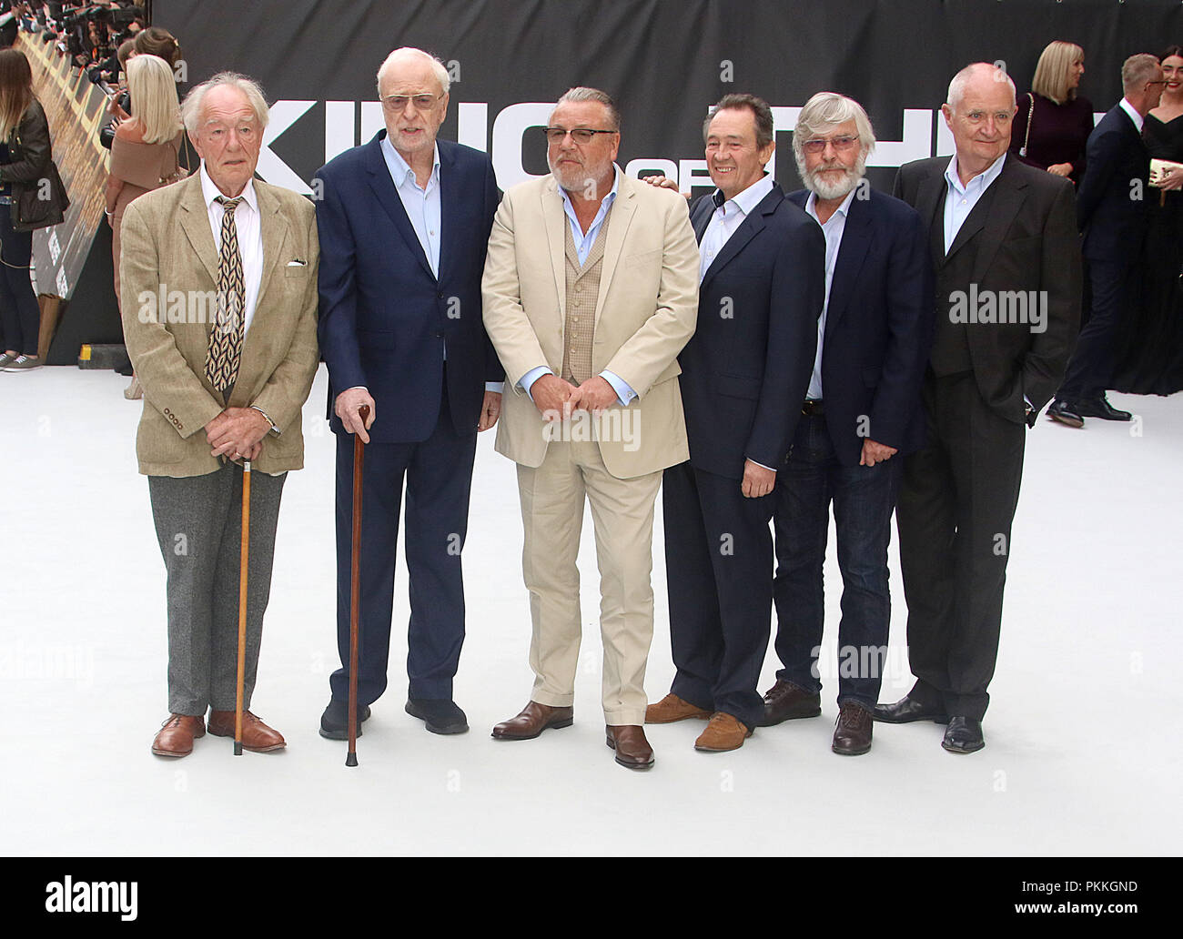 London, UK, Sep 12th 2018. Jim Broadbent, Michael Gambon, Sir Michael Caine, Ray Winstone, Sir Tom Courtenay and Paul Whitehouse attend the King of Thieves film premiere in London Stock Photo