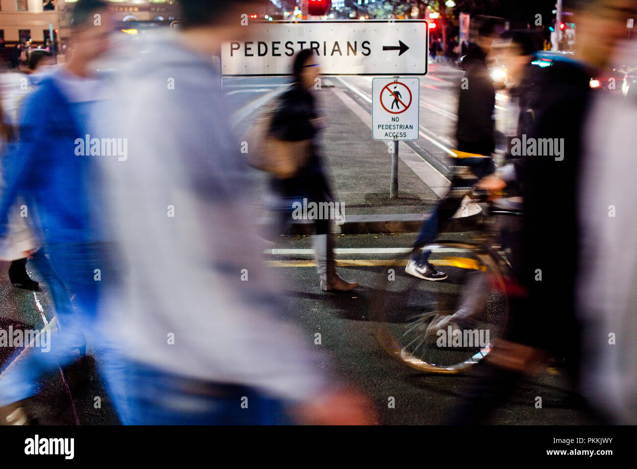 street crossing between Flinders Street Station and Federation Square in Melbourne's CBD. - Stock Image