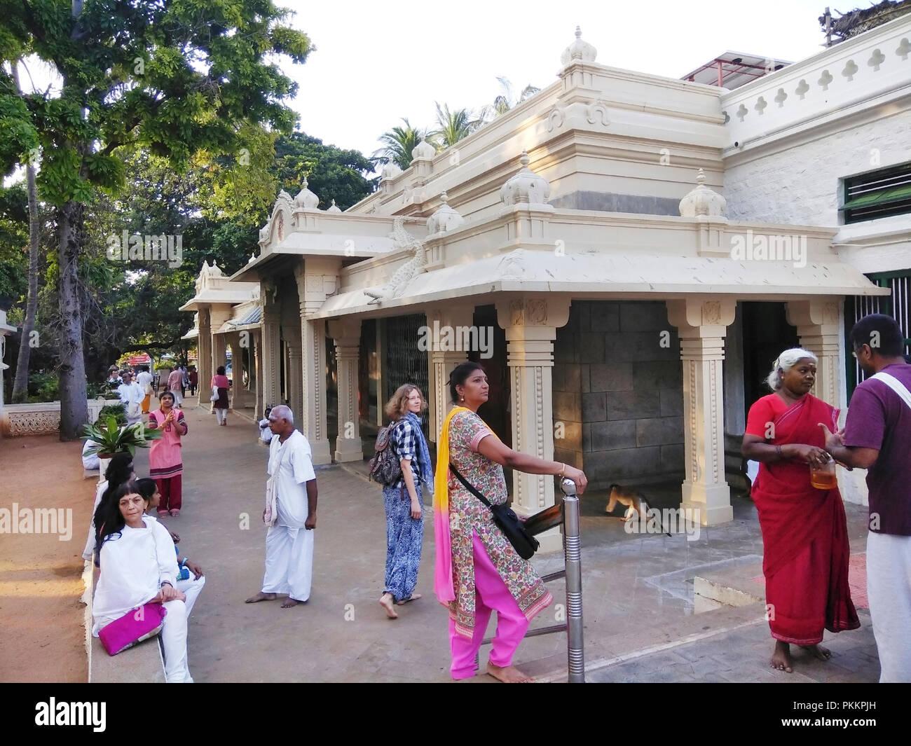 View of devotees  inside the Raman Maharishi Aashram, Thiruvannamalai, Tamil Nadu, India - Stock Image