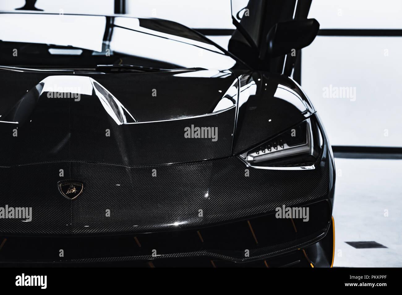 St Petersburg Russia November 6 2017 Shiny Black Lamborghini