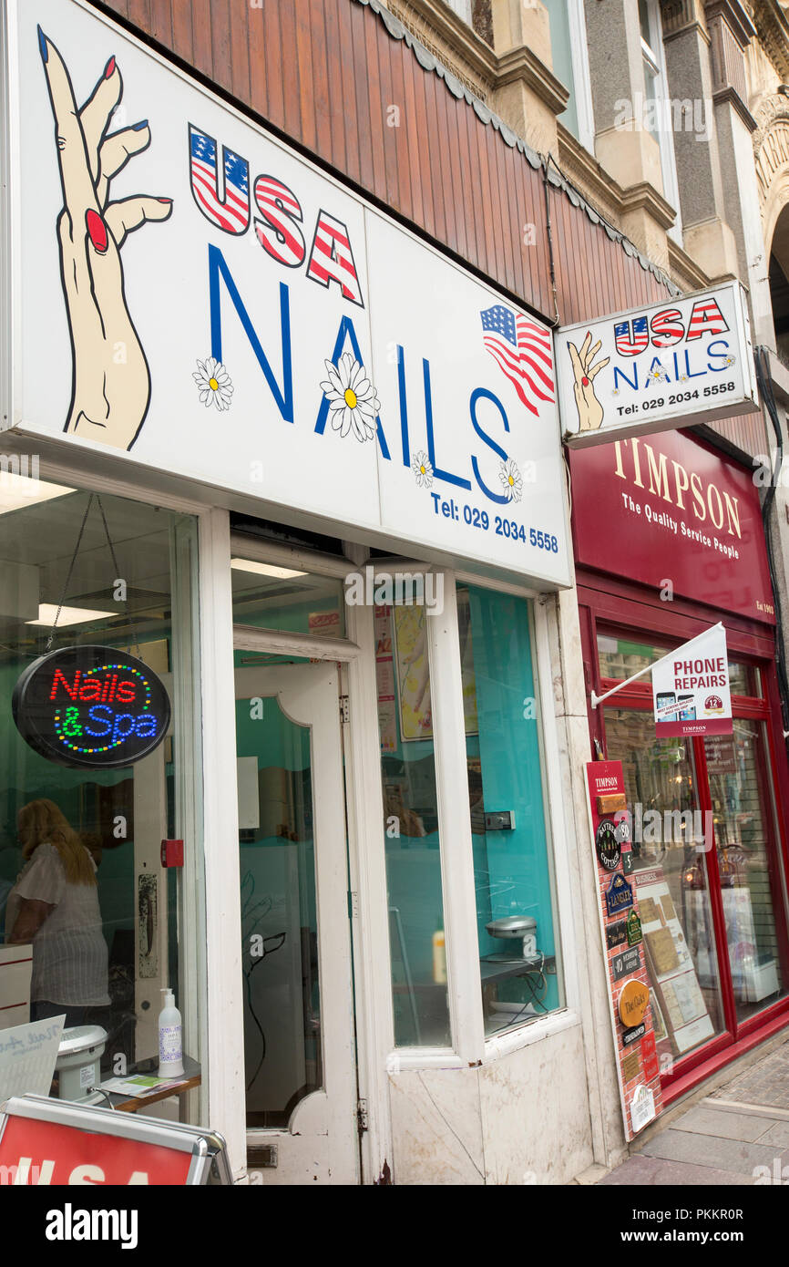 A nail salon in Cardiff, Wales, UK.