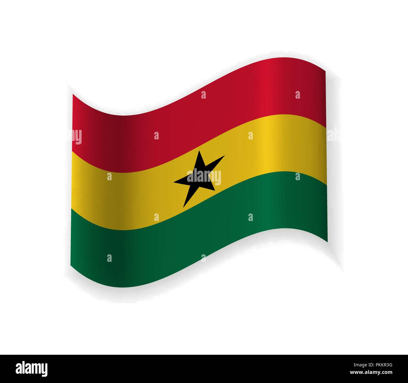 The Flag Of Ghana. Country in West Africa. Vector illustration. The Capital Accra. - Stock Vector