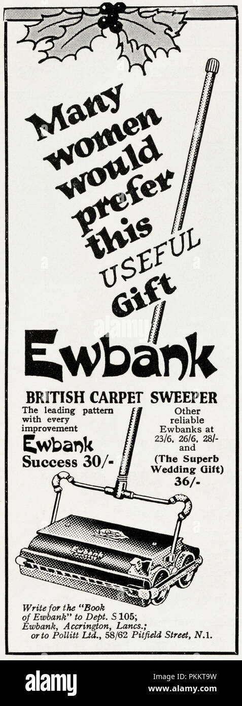 1930s old vintage original advert advertising Ewbank carpet sweeper as a gift for women at Christmas in English magazine circa 1932 - Stock Image