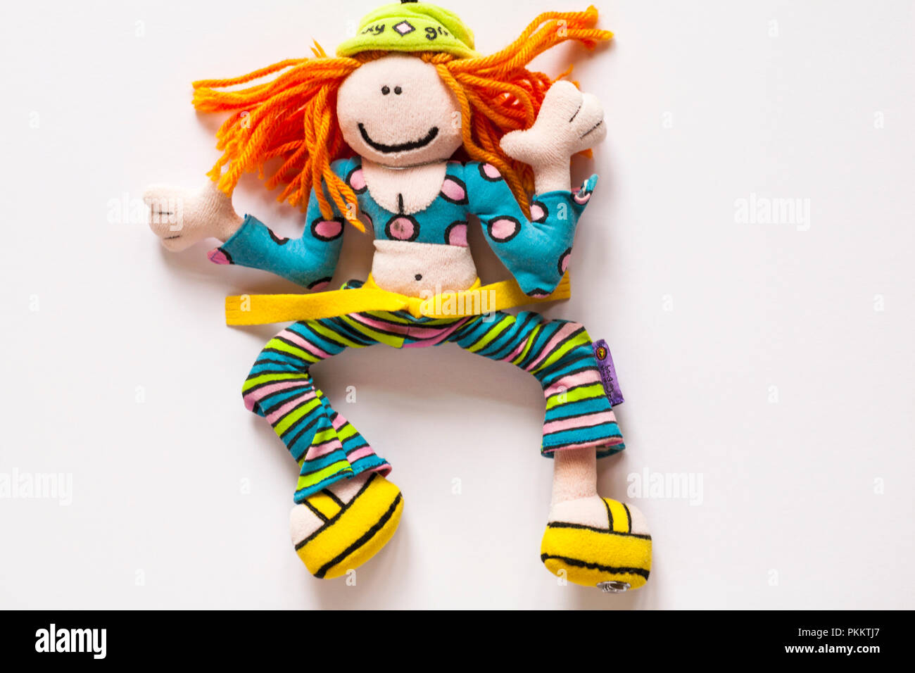 Bang on the Door funky girl, one of the groovy friends characters, soft toy doll isolated on white background - Stock Image