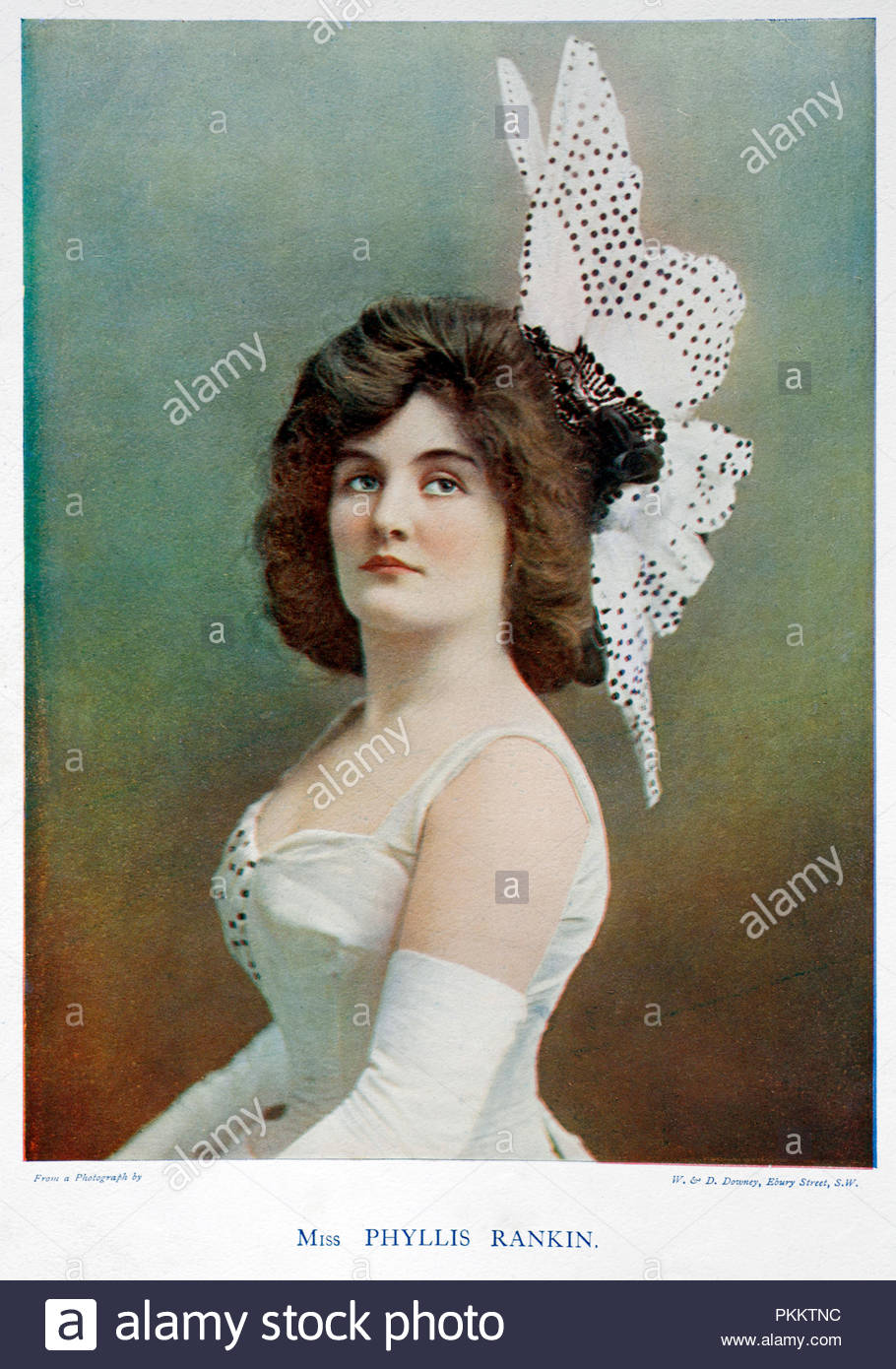 Phyllis McKee Rankin portrait, 1874 – 1934, was an American Broadway actress and singer from the 1880s until the 1920s.  Colour illustration from 1899. - Stock Image