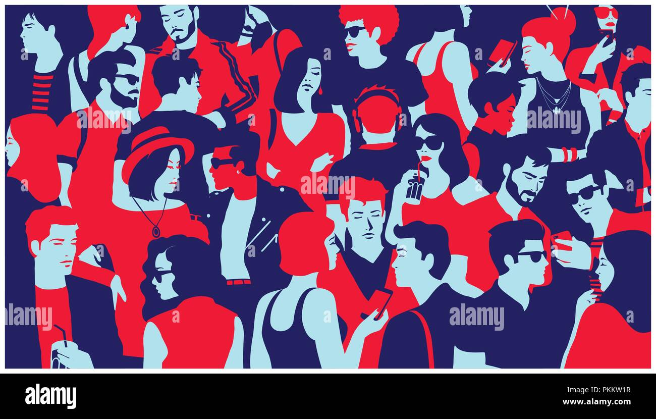 Stylized silhouette crowd of people group of young adults hanging out chatting gathered for nightlife event minimal pop art style flat design vector - Stock Image