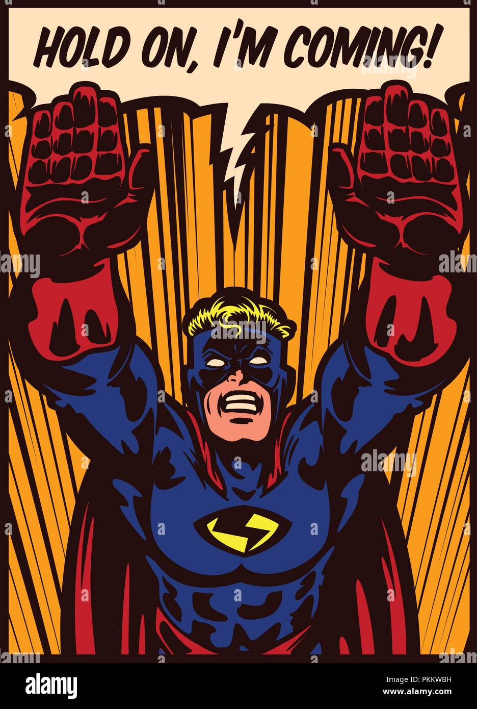 Pop art comic book style superhero flying to the rescue vector poster design illustration - Stock Vector