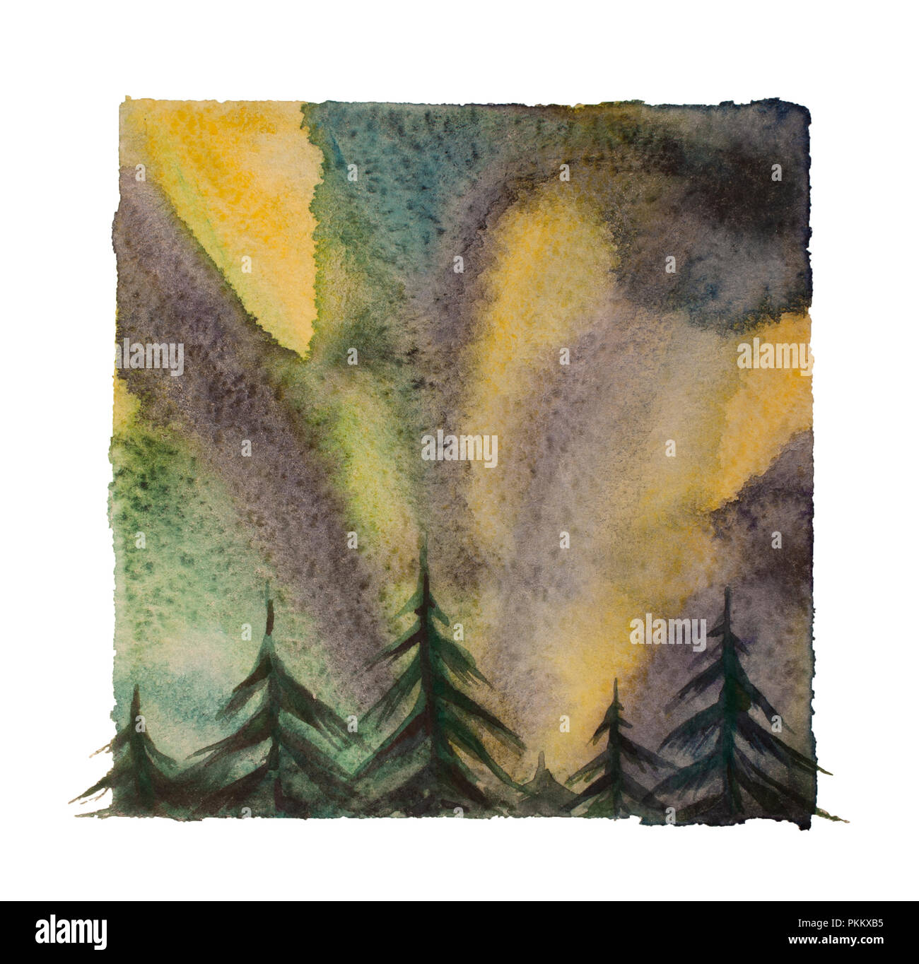 Watercolor northern lights, isolated north sky at night illustration - Stock Image