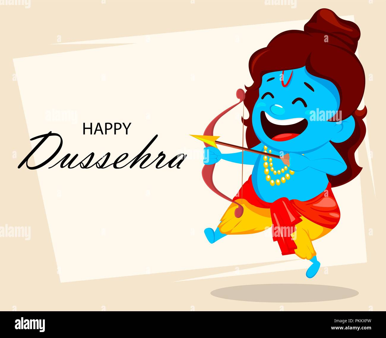 Lord Rama With Bow And Arrow Funny Cartoon Character For Navratri
