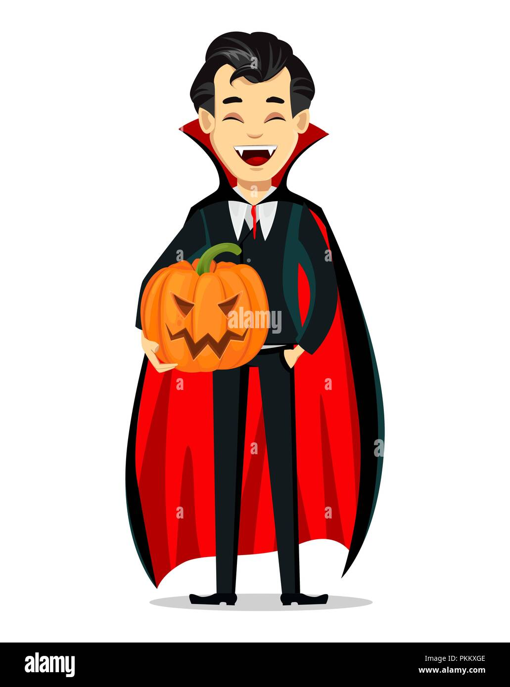 Happy Halloween. Vampire cartoon character wearing black and red ...