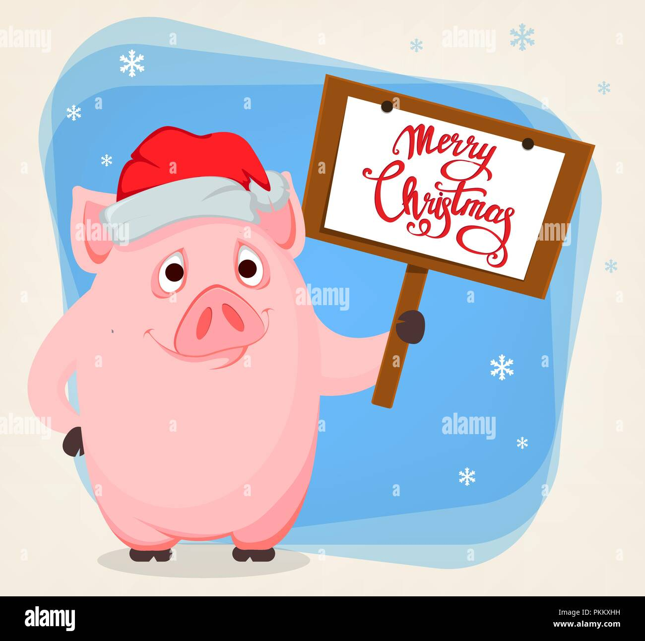 Merry Christmas Greeting Card With Cute Cartoon Pig, The