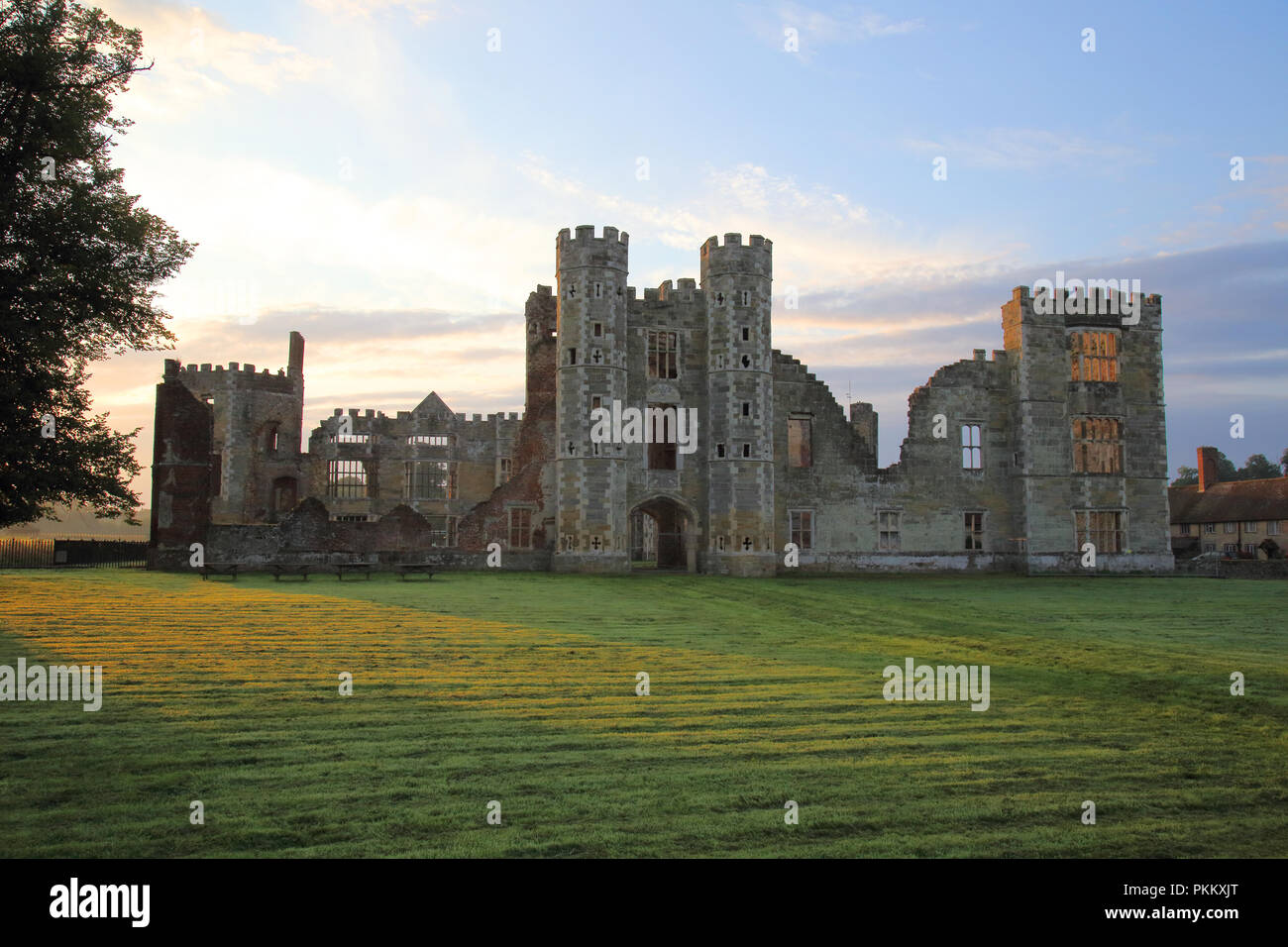 the ruins of cowdray house in cowdray park west sussex - Stock Image