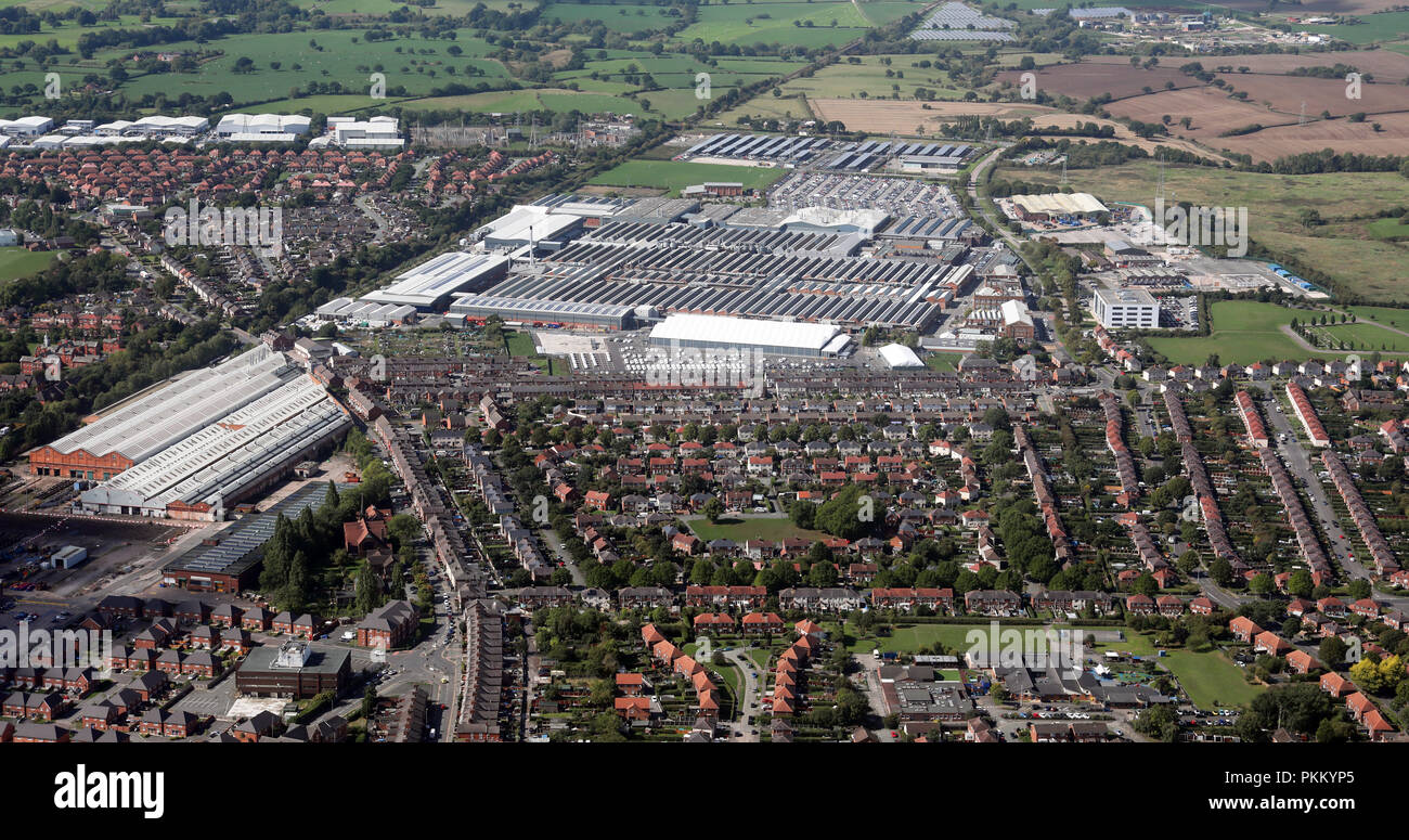 aerial view of the Bentley factory at Crewe, Cheshire - Stock Image