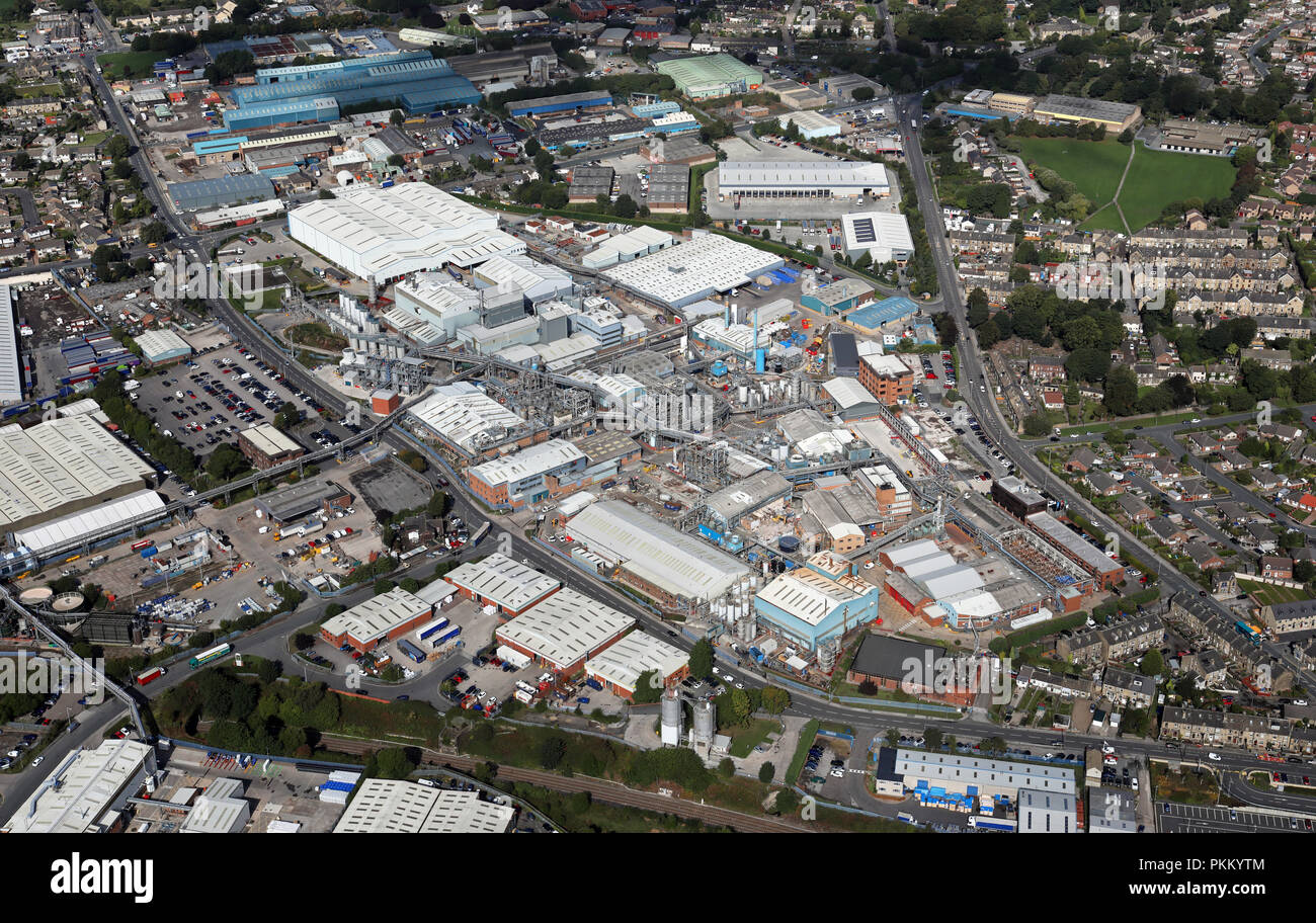 aerial view of the BASF plc chemical works at Low Moor, Bradford, West Yorkshire - Stock Image