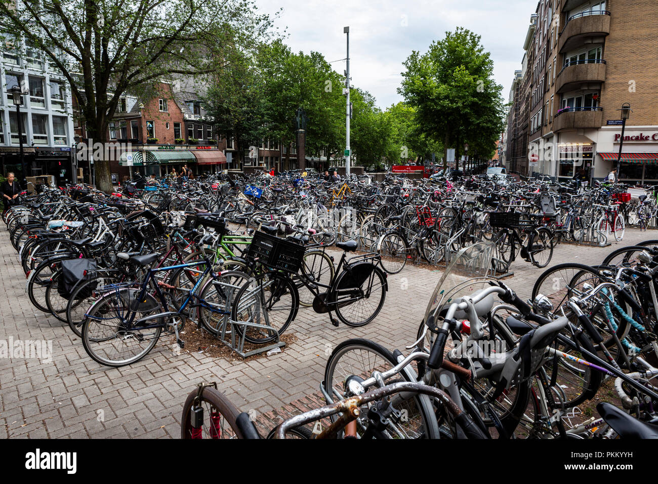 Bike usage in Amsterdam has grown by more than 40% in the last 20 years. - Stock Image