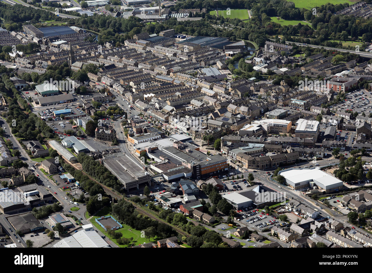 aerial view of Nelson town centre, Lancashire Stock Photo